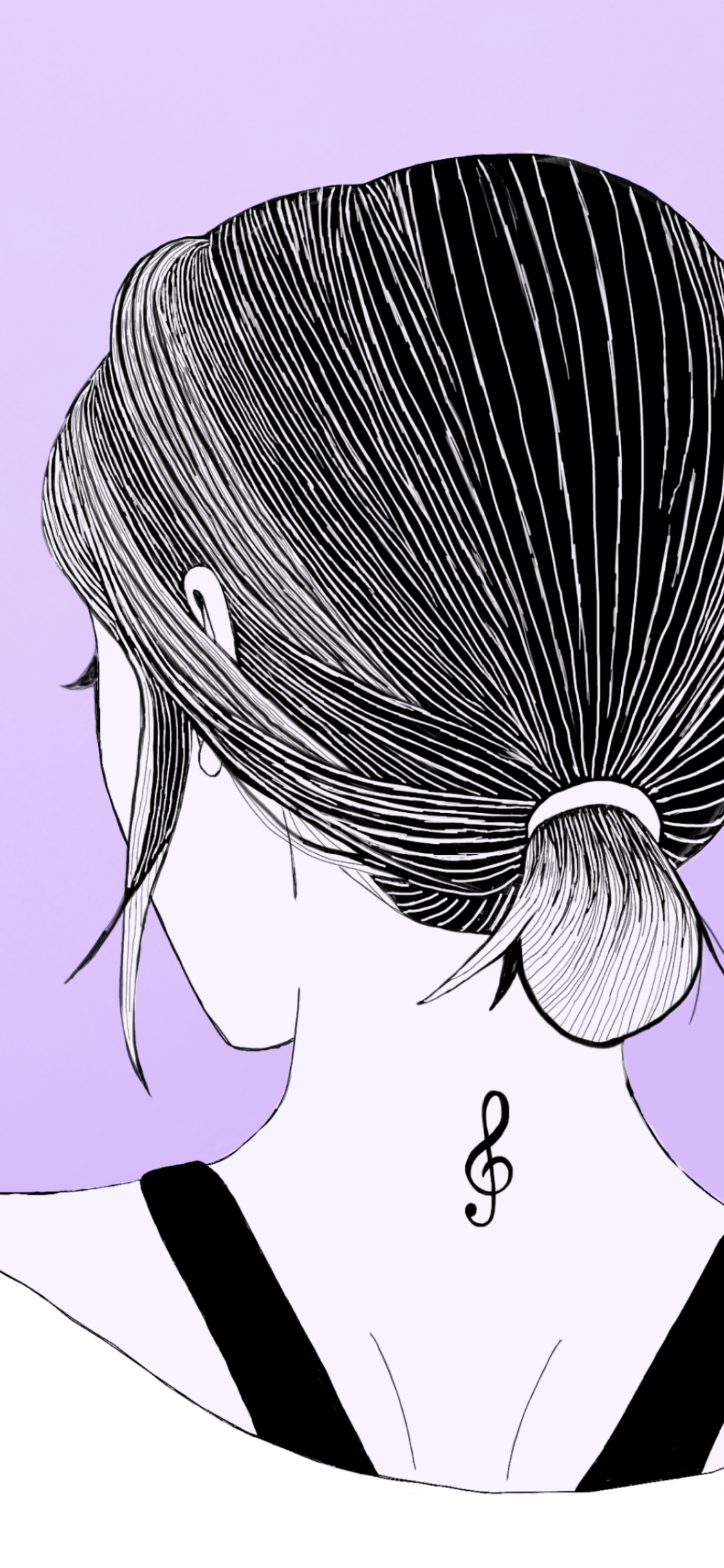 Illustration of girl facing away with treble clef tattoo on her neck